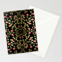 """Spring pink flowers and leaves - Black"" Stationery Cards"