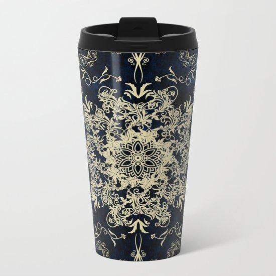 Pale Gold Floral Design On A Blue Textured Background Metal Travel Mug