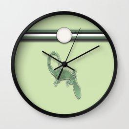 Green Lizard Stripes Animal Design Pattern Wall Clock