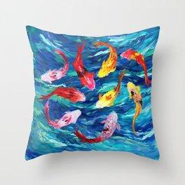 Koi fish rainbow abstract paintings Throw Pillow