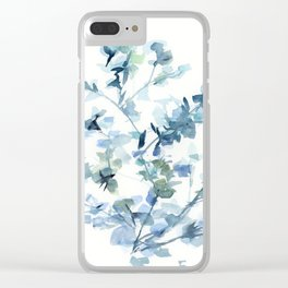 blue fresh leaves plant art Clear iPhone Case