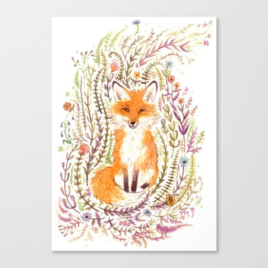Fox and Flowers II Canvas Print