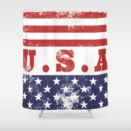 USA Patriotic Rubber Stamp Icon Shower Curtain