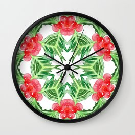 Holly Jolly Christmas Mandala (Large Pattern) Wall Clock