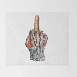 One Finger Salute Throw Blanket