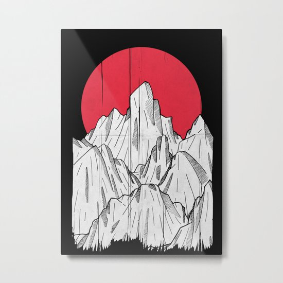 The red sun and the mountains Metal Print