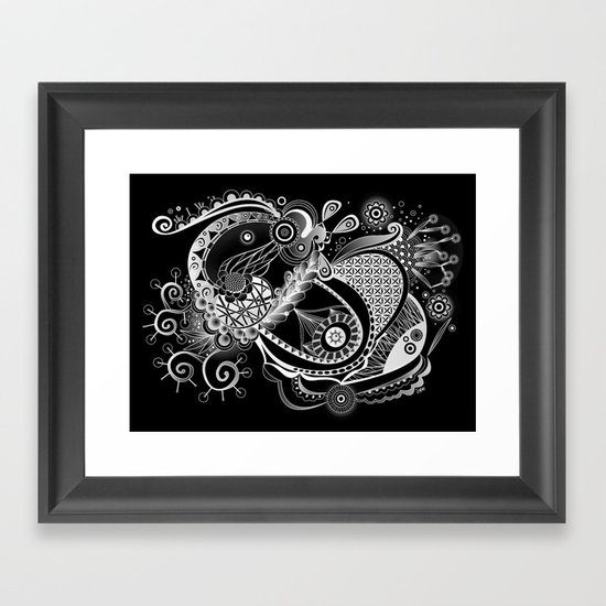 Spring tangle, black Framed Art Print