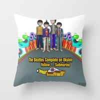 yellow submarine Throw Pillows featuring Yellow Submarine by The Beatles Complete On Ukulele