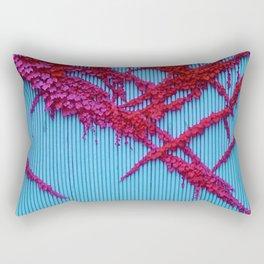 Scarlet Flowered Vines on Vibrant Blue Fence Rectangular Pillow