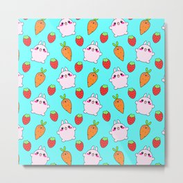 Cute funny Kawaii pink little baby bunnies, happy orange carrots and ripe juicy summer strawberries adorablelight pastel blue fruity pattern design. Nursery decor ideas. Metal Print
