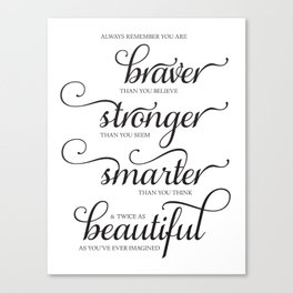Always Remember - Printable art wall decor, Inspirational quote Canvas Print