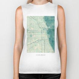 Chicago Map Blue Vintage Biker Tank