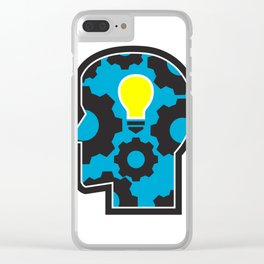 Head with Light Bulb and Cog Retro Clear iPhone Case