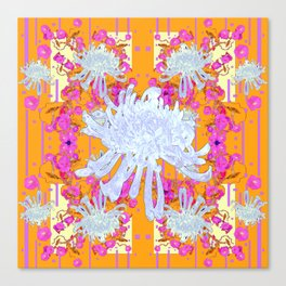 Decorative Modern White Mums Patterns Flowers  Gold art Canvas Print