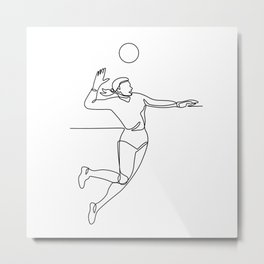 Volleyball Player Striking Ball Continuous Line Metal Print