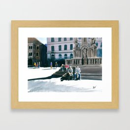 Cesky Krumlov Square Framed Art Print