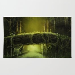 Green Mossy Forest with Bridge Fantasy Photo Rug