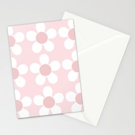 Spring Daisies In Pale Delicate Fresh Pink & White Stationery Cards