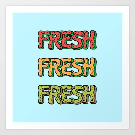 Fresh Watermelon, Cantaloupe Melon, Kiwi Art Print