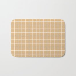 Burlywood - brown color - White Lines Grid Pattern Bath Mat