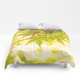 Green leaves of Japanese maple - vintage style Comforters