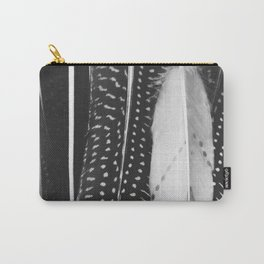 Boho Feathers - Black and White feather photography by Ingrid Beddoes Carry-All Pouch