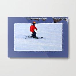 Winter Run - Downhill Skier Metal Print