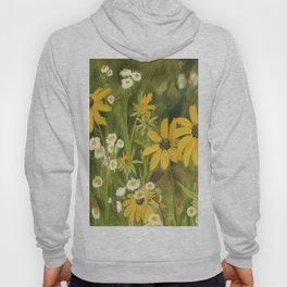 Watercolor Black Eyed Susan Wildflower Botanical Garden Flower Hoody