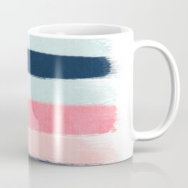 Striped painted coral mint navy pink pattern stripes minimalist Coffee Mug