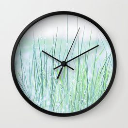 Field of grass in a fresh spring morning Wall Clock