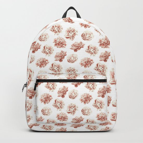 Rose Garden Vintage Rose Pink Cream and White Backpack