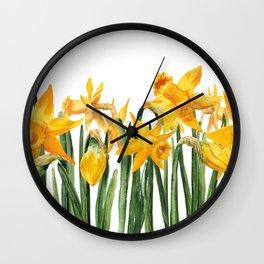 watercolor yellow narcissus Wall Clock