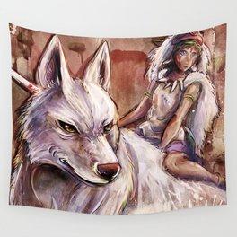 Miyazaki's Mononoke Hime - San and the Wolf TraDigital Painting Wall Tapestry