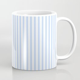 Mattress Ticking Narrow Striped Pattern in Pale Blue and White Coffee Mug