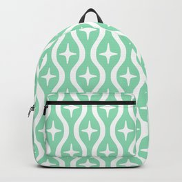 Mid century Modern Bulbous Star Pattern Mint Green Backpack