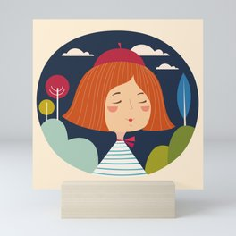 Girl happy Mini Art Print