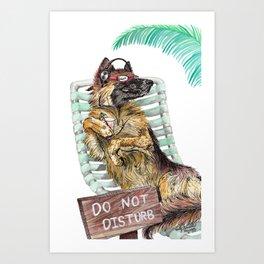 Lounge in the Sun, funny German shepherd dog GSD watercolor painting Art Print