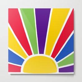 Colourful Sun Ray Burst Metal Print
