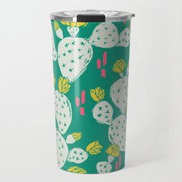 Yellow Flowering Cactus on Emerald Travel Mug
