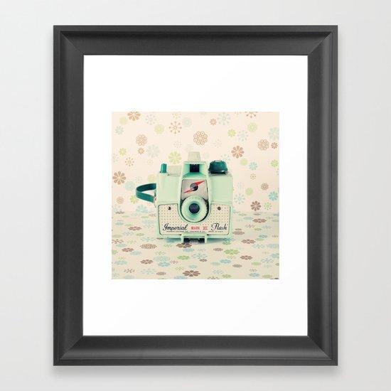 Mint Retro Film Camera on Beige - Cream Pattern Background  Framed Art Print