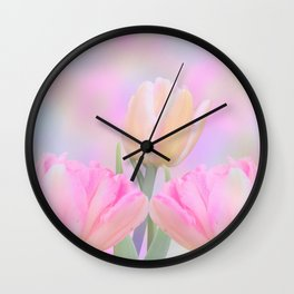 Painterly Pastel Tulips Wall Clock