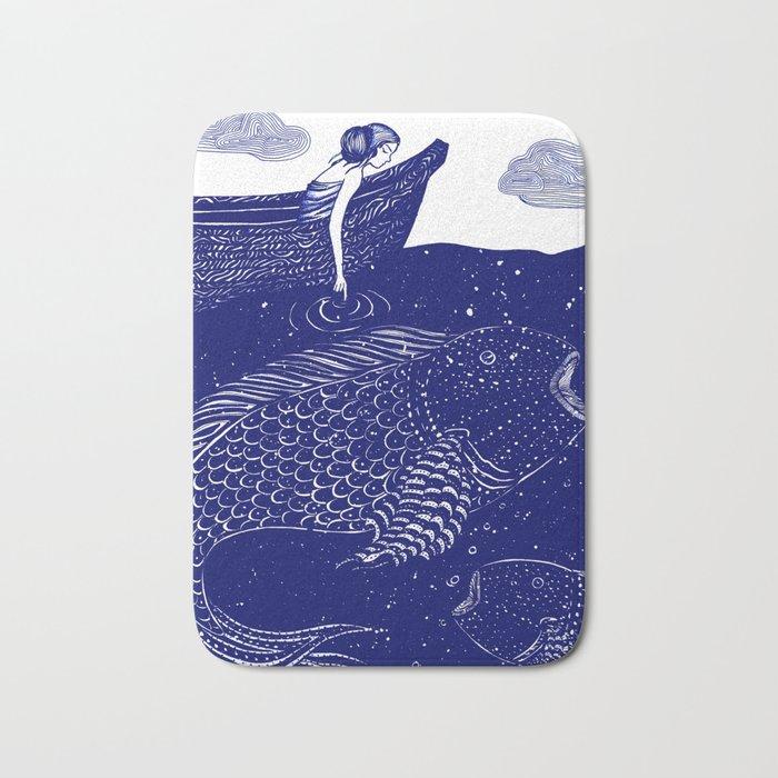 The Blue Shimmering Sea Lights Bath Mat