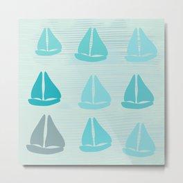 Mint Blue Sailing Metal Print