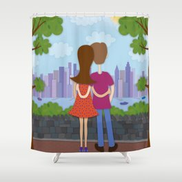 A Day in Weehawken Shower Curtain