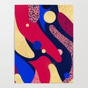 Psychedelic terrazzo galaxy blue night gold red by sylvaincombe