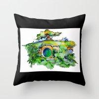 the hobbit Throw Pillows featuring hobbit hole by Jonny Moochie