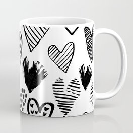 Hearts black and white hand drawn minimal love valentines day pattern gifts decor Coffee Mug