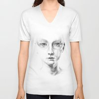 the fault V-neck T-shirts featuring not my fault by David Cristobal