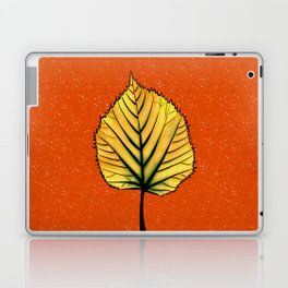 Yellow Linden Leaf On Orange Botanical Art Laptop & iPad Skin