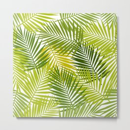 Palm leaf silhouettes seamless pattern. Tropical leaves. Metal Print